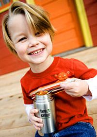 Young Boy Eating from Klean Kanteen Stainless Steel Bottle
